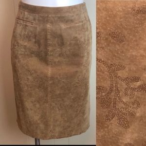 Tyler Böe Western Embroidered Suede Leather Skirt